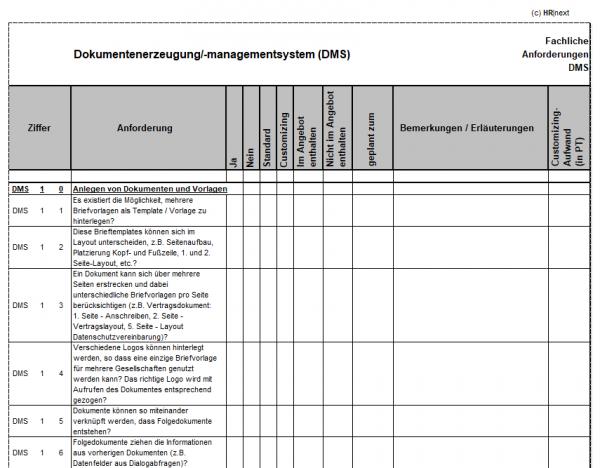 Fachanforderungen Dokumentenmanagementsystem