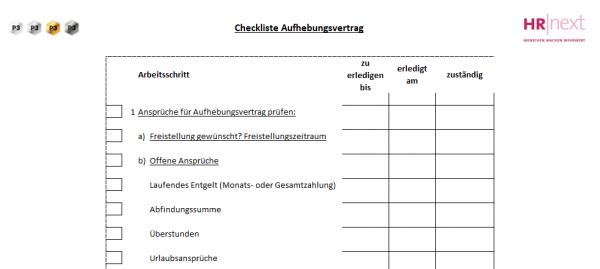 7.4 Checkliste Aufhebungsvertrag