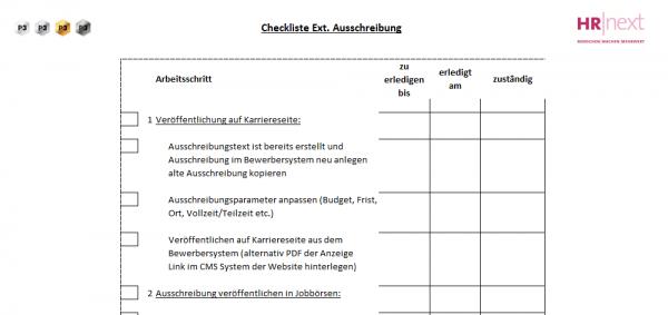 1.3 Checkliste Externe Ausschreibung