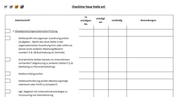 1 Checkliste Neue Stelle anfordern