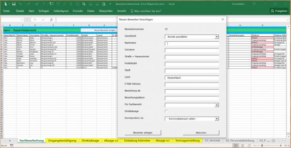 Excel-Bewerberverwaltung
