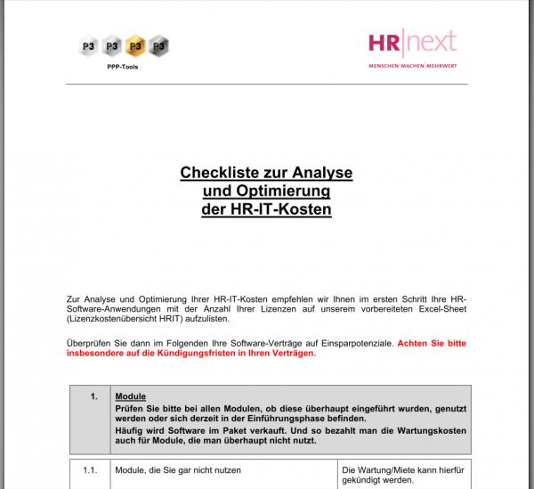 Checkliste zur Analyse und Optimierung von HRIT-Kosten