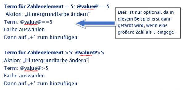 """PLS Hinweis Aktion"""" Hintergrundfarbe ändern"""". Ab einem bestimmten Wert"""