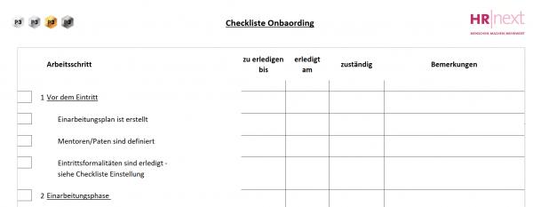 3 Checkliste Onboarding
