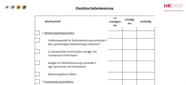 1.1 Checkliste Stellenbesetzung | Rollentrennung | HR-Organisation ...
