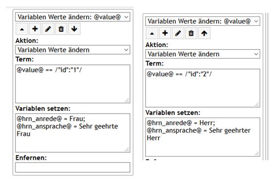 """PLS Variablen anlegen und auslesen/ Aktion """"Variablen Werte ändern"""" Beispiel Aufklappmenü mit Anrede"""