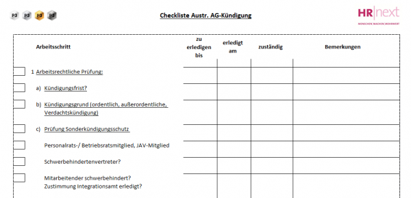 7.3 Checkliste Austritt AG-Kündigung
