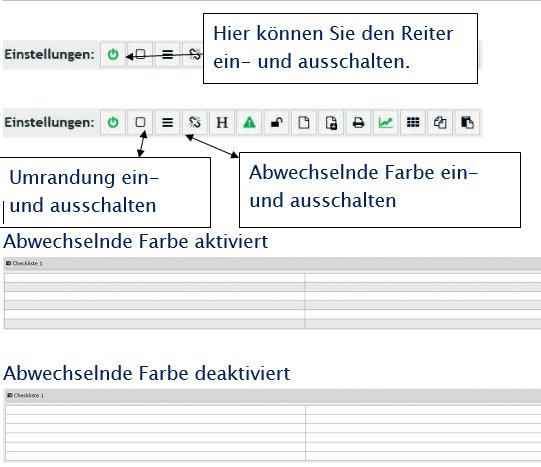 PLS Einstellungen einer Checkliste / Umrandung ein- und ausschalten / Farbe ein- und ausschalten