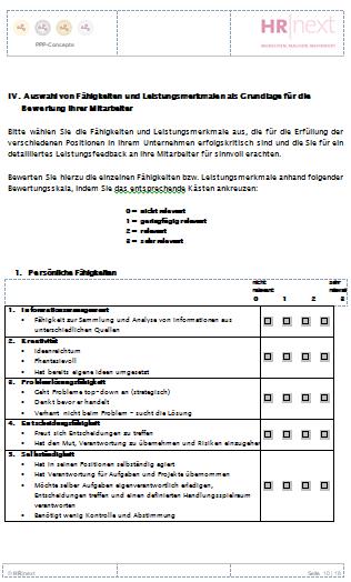 Mitarbeitergespräch mit Beurteilungssystem (Konzept)