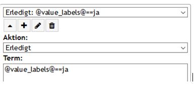 """PLS Variablen anlegen und auslesen/ Aktion """"Erledigt"""" Beispiel Aufklappmenü mit labels"""