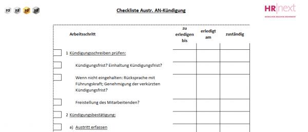 7.1 Checkliste Austritt Arbeitnehmer-Kündigung