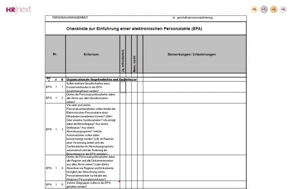 Projektcheckliste Digitale Personalakte