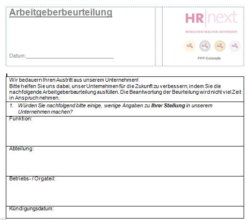 Arbeitgeberbeurteilung / Austrittsfragebogen