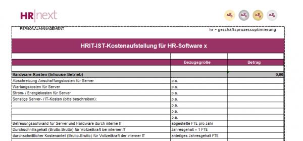 IST-Kostenermittlung für HR-Software im Haus
