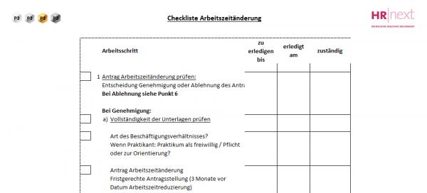 5 Checkliste Arbeitszeitänderung