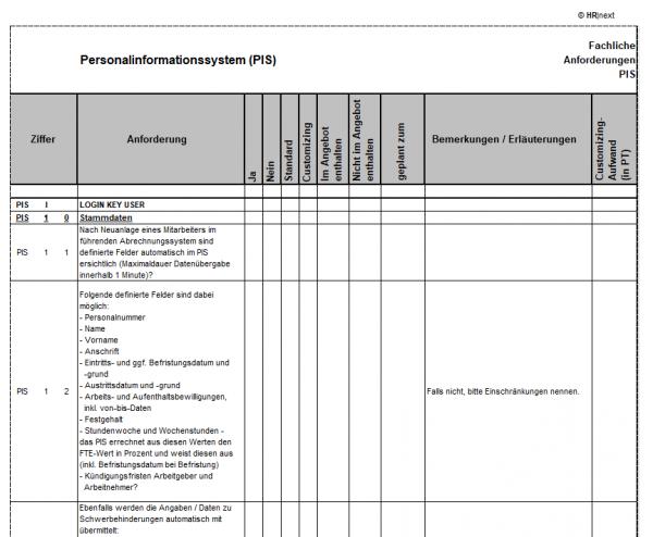 Fachanforderungen Personalinformationssystem