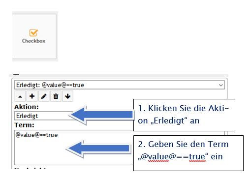"""PLS Variablen anlegen und auslesen / Aktion """"Erledigt"""" Beispiel Checkbox"""