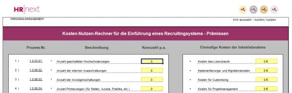 KOSTENLOS: Kosten-Nutzen-Rechner für Recruitingsysteme