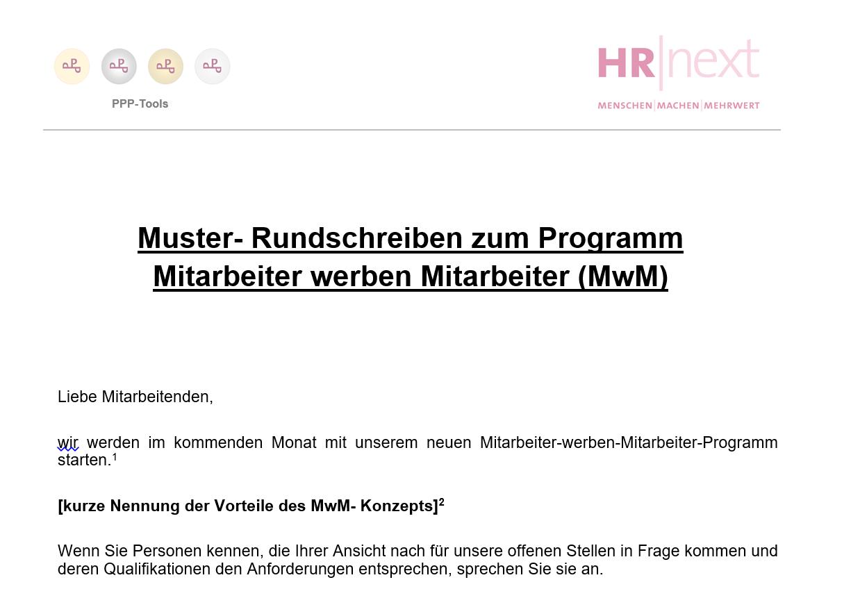 Hrnext Mitarbeiter Werben Mitarbeiter Exemplarisches Rundschreiben Im Rahmen Der Implementierung P3 Portal