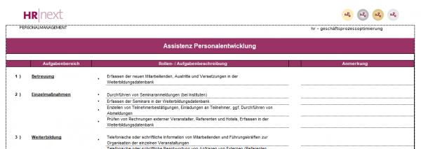 Rollen-/Aufgabenbeschreibung Assistenz Personalentwicklung