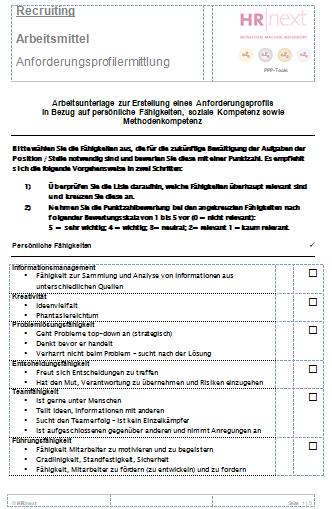 Ermittlungsbogen Stellenanforderungsprofile