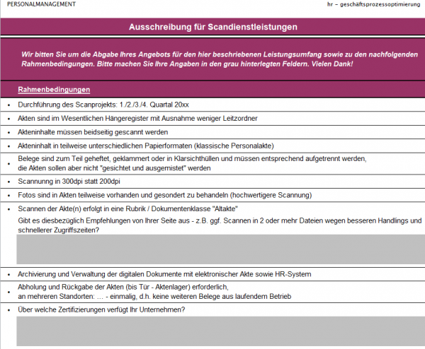 Ausschreibungsbogen für Aktenverscannung